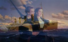 """Jack and Rose's famous """"king of the world"""" on the front of the Titanic."""