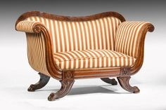 Rare Small Regency Sofa Window Seat, Ca1825 England #AntiqueFurnitureStyles