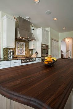 Love this dark wood countertop.
