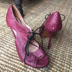 "Pour la Victoire heels Purple real snake skin leather heels. 1"" platform. 4"" heel. Tie at top of foot. Comfortable! Only worn once. Pour la Victoire Shoes Platforms"