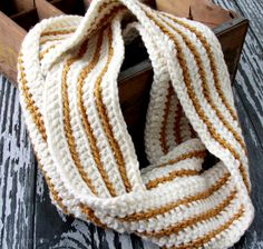 Easy Striped Crochet Scarf
