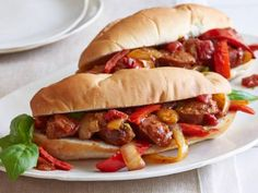 Italian Sausage, Peppers and Onions ~ serve in bowls or on sandwich rolls ~ game day food! | recipe by Giada De Laurentiis via Food Network