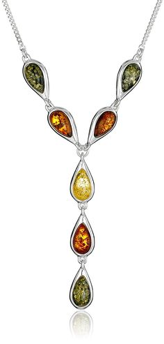 Sterling Silver Multi-Color Amber Teardrop Link Necklace, 17' * Find out more about the great product at the image link.