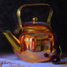 "Daily Paintworks - ""Copper and Cherry"" - Original Fine Art for Sale - © Elena Katsyura"