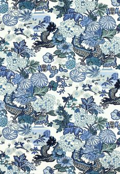 Fabric | Chiang Mai Dragon in China Blue | Schumacher
