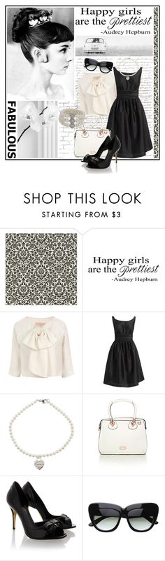 """""""Audrey Hepburn"""" by lifestyle-ala-grace ❤ liked on Polyvore featuring Once Upon a Time, Giambattista Valli, Eliza J, Tiffany & Co., Folli Follie, Fendi, Carolee, pearl necklaces, vintage dress and bow jacket"""