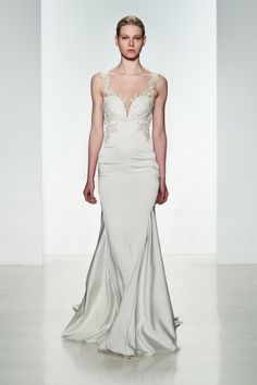 """Stretch charmeuse fit to flare """"Monica"""" gown with sheer back and crystal hand-beading applique #kennethpool #weddings #spring"""