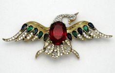 Beautiful Vintage CROWN TRIFARI Sterling Bird Brooch Philippe 1942  #vintagejewelry #vintagebrooch #rhinestonejewelry