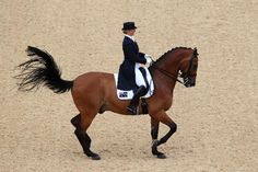 Kristy Oatley of Australia riding Clive competes in the Dressage Grand Prix on Day 6 of the London 2012 Olympic Games at Greenwich Park on August 2, 2012 in London, England. (Photo by Alex Livesey/Getty Images)