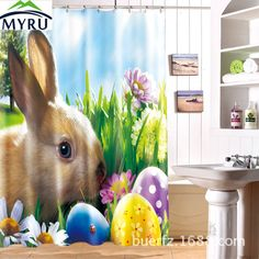 >> Click to Buy << MYRU The Easter Bunny  waterproof polyester shower  curtain 3D printing shower curtains unique shower curtain for bathroom #Affiliate