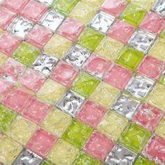 front of crystal glass tile ice crack platedmosaic wall tiles - Mosaic Tile Sheets, Mosaic Wall Tiles, Wall And Floor Tiles, Mosaic Glass, Bath Tiles, Mosaics, Floor Stickers, Kitchen Wall Stickers, Washroom Design