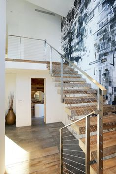 Decoration: Minimalist Black Grey And White House With A Play Of Textures Also Modern Staircase And Stainless Steel Balustrade As Well As Stone Floor Design Ideas: Awesome Minimalist Black, Grey Plus White House With Texture Plays