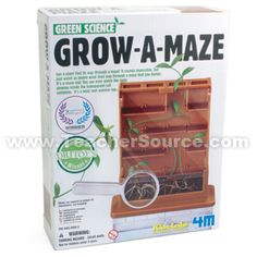 With this kit, you can plant a bean and watch it sprout and wind its way through a maze that you design.  Watch the roots develop inside the transparent soil container, too. Perfect for science fairs!  Includes a plastic maze with several adjustable shelf pieces, a see-through planter/root viewer, two cover cards to block light during germination, a watering pipette, plastic magnifying glass, and detailed instructions.  Requires soil and dried beans for planting, not included.  Completed kit…