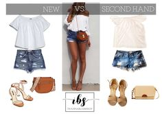 NEW vs SECOND HAND, Denim shorts, white off shoulders top