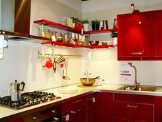 modern #red #Ikea #kitchen