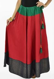 Maroon Cotton Hand Block Printed Color Block Skirt