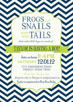 Boys Baby Shower Invitation frogs snails & puppy dog tails