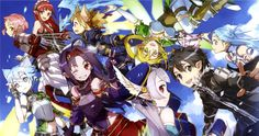 Anime Sword Art Online II  Silica (Sword Art Online) Leafa (Sword Art Online) Yui (Sword Art Online) Asuna Yuuki Kirito (Sword Art Online) Lisbeth (Sword Art Online) Yuuki Konno Sinon (Sword Art Online) Fondo de Pantalla