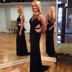 Black mermaid sexy  backless sleeveless beaded sparkle special high quality long Floor-length Prom Dresses Gown,cheap formal prom gown BD1705300