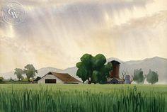 Ben Norris - California Dairy Farm, 1936, California art, original California watercolor art for sale - CaliforniaWatercolor.com