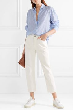 Elizabeth and James - Francois Striped Voile Shirt - Blue Blue Striped Shirt Outfit, Blue Shirt Outfits, Outfits Con Camisa, Outfits With Striped Shirts, Casual Outfits, Bluse Outfit, Outfit Invierno, Light Blue Shirts, Looks Style