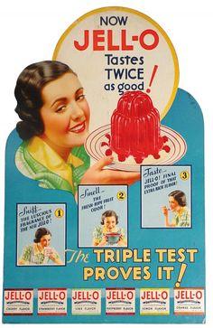 Jell-O die-cut cardboard advertising sign, c. 1930s.