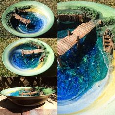 "'Lake in a bowl' 10.75"" diameter glazed with glass lake. This bowl is a one off and should be viewed whilst chilling to ambient summer music :-) This bowl is for sale at £150 ($256.66USD) + shipping.  earthwoolfire@gmail.com earthwoolfire.etsy.com"