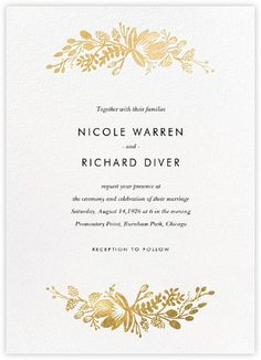 Floral Silhouette (Invitation) - White/Gold - Paperless Post