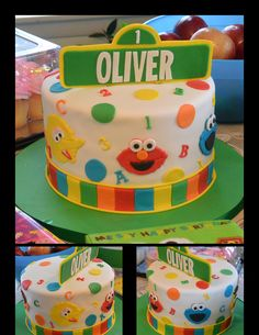 Simple and adorable single tier Sesame Street birthday cake for 1 year old. Everything hand done by Peace, Love & Cake.