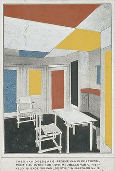 de stijl interiors WMC http://commons.wikimedia.org/wiki/File:Van_Doesburg_and_Rietveld_interior_1919.jpg
