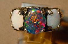 Genuine Australian Opal Engagement ring.Three extraordinary Opal Gemstones.Handmade Fine Silver setting. White Opals and Australian Opal