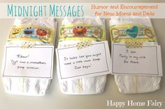 Midnight Messages - FREE Printable notes with hilarious quotes from baby for the middle of the night diaper changes. Best Baby Shower Gift!