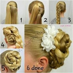 Step by Step Braided Bun Hairstyles how to braided bun hair tutorial how to braided space buns how to make a braided bun how to make a braided Bridal Hairstyles With Braids, Braided Hairstyles, Cool Hairstyles, Wedding Hairstyles, Hairstyles Haircuts, Braided Updo, Hair Designs, Flowers In Hair, Hair Hacks
