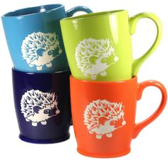 4 Hedgehog Mugs Sky Blue Navy Blue Green & Orange Microwave-Safe... ($90) ❤ liked on Polyvore featuring home, kitchen & dining, drinkware, black, drink & barware, home & living, mugs, outdoor drinkware, quote mugs and orange mug