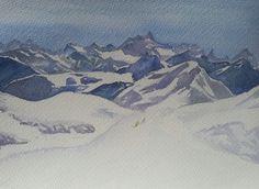 #watercolours #switzerland #valais #mountains #winter #anniviers  www.sandragianesini.com