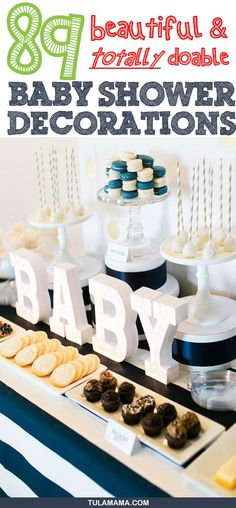 Click the link for adorable but totally doable baby shower decoration ideas for baby girl boy neutral indoor and outdoor baby showers. Pin it. Elegant Baby Shower, Beautiful Baby Shower, Floral Baby Shower, Baby Shower Decorations For Boys, Baby Shower Centerpieces, Baby Shower Themes, Shower Ideas, Shower Bebe, Baby Boy Shower