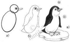 Painting for kids. Draw a small penguin - step by step drawing lessons for children