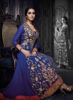 Blue Shraddha Kapoor Trail Anarkali Suit