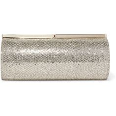 Jimmy Choo Trinket glittered canvas clutch ($580) ❤ liked on Polyvore featuring bags, handbags, clutches, bolsa, gold, cocktail purse, special occasion clutches, brown handbags, evening clutches and jimmy choo purses
