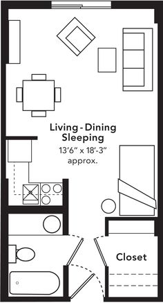 Studio Apartment Floor Plan studio apartments floor plan 300 square feet | location: los