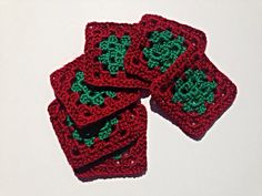 Set of Six Red and Green Crocheted Christmas Granny Square Coasters on Etsy, $8.00