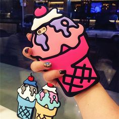 iPhone 7 7plus SE 5 5s 6 6s 6/6s - Cherry Ice Cream Cone with cherry on top soft silicone case - cute cartoon design pop art style sweet hot pink purple & black case also comes in blue & yellow. Fun dessert / food humor gift for foodie with a sweet tooth.