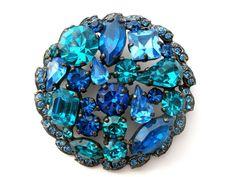 Signed Weiss Blue Rhinestone Round Vintage Jewelry Pin