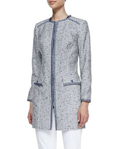 Long Tweed Jacket with Organza Trim by Magaschoni at Neiman Marcus.