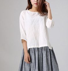 Loose White Linen Shirt - Handmade Blouse with Pintuck Sleeves Bateau Neckline (77711)