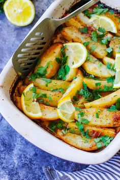 This Greek Lemon Potatoes recipe is as authentic as it gets. For this recipe, I used the best Idaho® Potatoes roasted in a very flavorful liquid made from chicken broth, extra virgin olive oil, lemon, Russet Potato Recipes, Scalloped Potato Recipes, Potato Sides, Potato Side Dishes, Greek Lemon Potatoes, Idaho Potatoes, Cooking Recipes, Healthy Recipes, Delicious Recipes