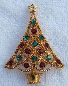 Vtg Signed EISENBERG ICE Christmas Tree Pin Brooch Red Green Rhinestones ESTATE | eBay