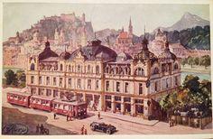 """Café Bazar Salzburg- Cecconi Villa - mit Straßenbahn called """"Die Elektrische"""" Salzburg Austria, Louvre, Villa, Marvel, Adventure, Architecture, Building, Beach, Life"""