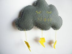 Sleepy felt storm cloud wall or nursery decor by theladybirdtree, £4.00