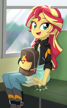 - artist:ta-na backpack bronybait bus cute equestria girls female looking at you open mouth safe school bus seat shimmerbetes sitting solo sunset shimmer - Derpibooru - My Little Pony: Friendship is Magic Imageboard My Little Pony Characters, Mlp My Little Pony, My Little Pony Friendship, Goth Disney Princesses, Little Poni, Equestrian Girls, Mlp Fan Art, Imagenes My Little Pony, My Little Pony Pictures